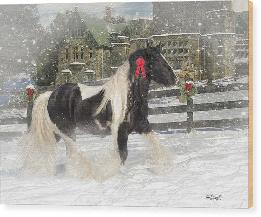 The Christmas Pony Wood Print