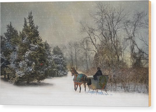 The Christmas Sleigh Wood Print