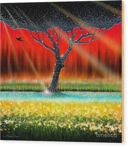 The Chrome Tree Wood Print