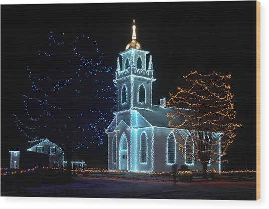 The Church - Alight At Night. Upper Canada Village Wood Print