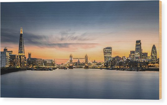 The City Of London In Sunset Scene Wood Print by Tangman Photography