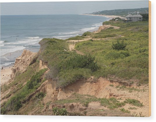 The Cliffs Of Montauk Looking West Wood Print