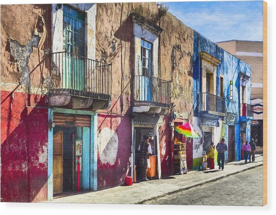 Wood Print featuring the photograph The Colorful Streets Of Puebla Mexico by Mark E Tisdale