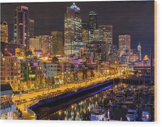 The Colors Of Night Lights In Seattle Wood Print