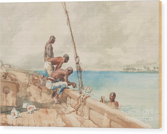 The Conch Divers Wood Print