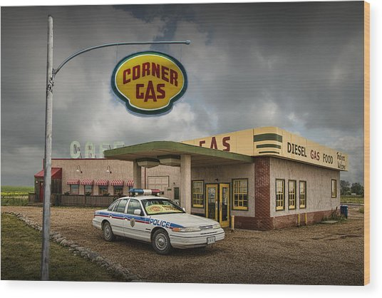 The Corner Gas Station From The Canadian Tv Sitcom Wood Print
