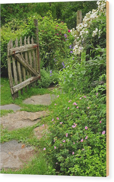 Enchanted Cottage Garden Path Wood Print