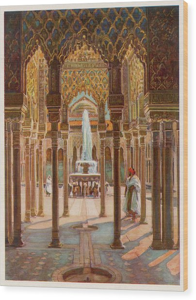 The Court Of Lions          Date Circa Wood Print by Mary Evans Picture Library