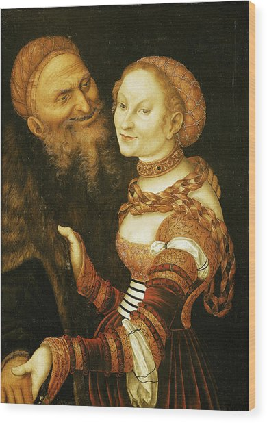 The Courtesan And The Old Man, C.1530 Oil On Canvas Wood Print