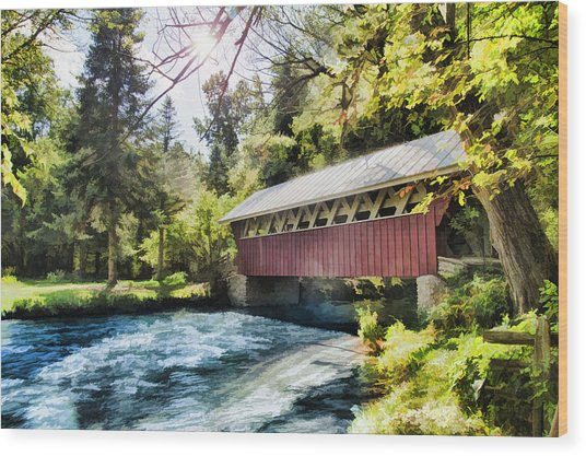 The Covered Bridge At The Red Mill Wood Print
