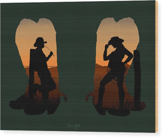 The Cowboy Way 2.. Nice Boots Wood Print by Brien Miller