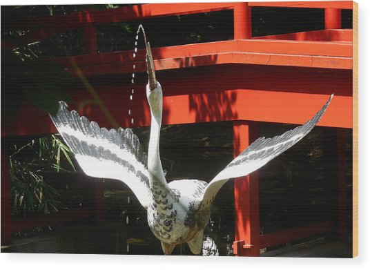 The Crane Fountain Wood Print