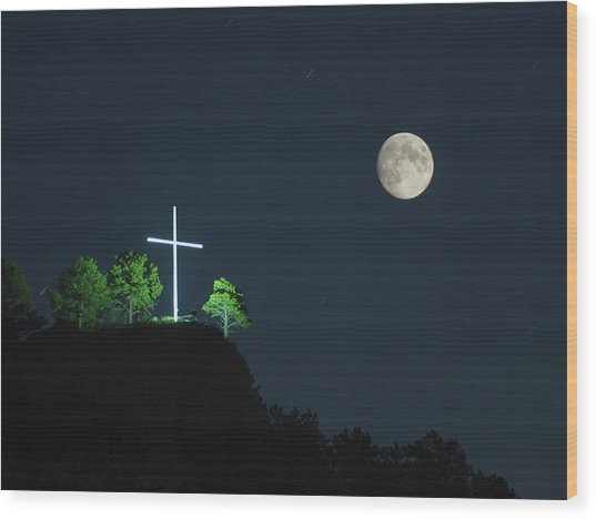 The Cross And The Moon Wood Print