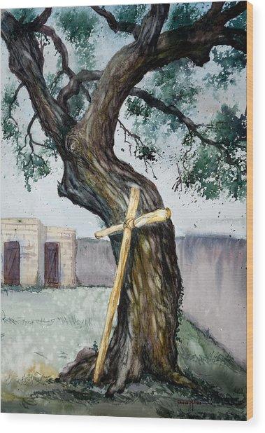 Da216 The Cross And The Tree By Daniel Adams Wood Print