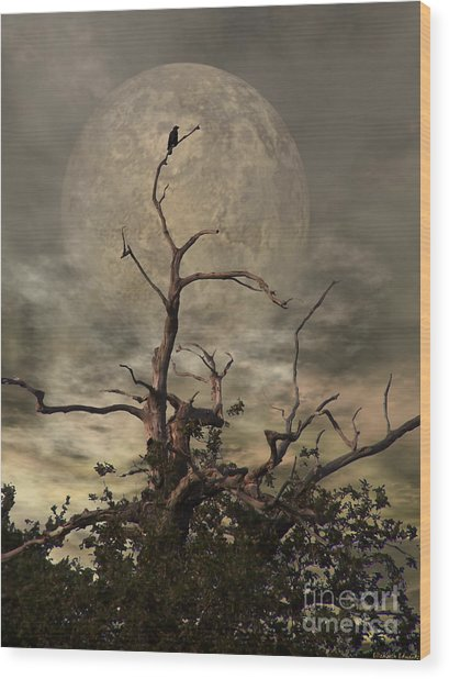 The Crow Tree Wood Print