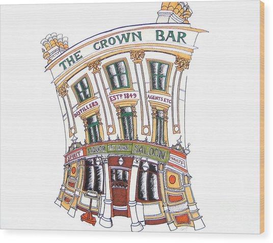 The Crown Bar Belfast Wood Print by Tanya Mai Johnston