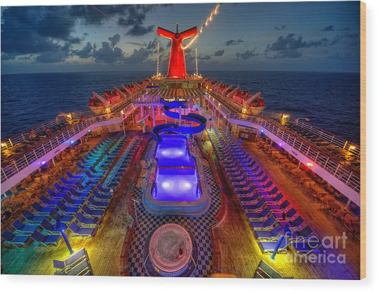 The Cruise Lights At Night Wood Print