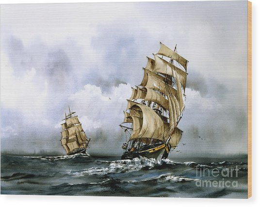 The Cutty Sark And The Red Clipper Wood Print