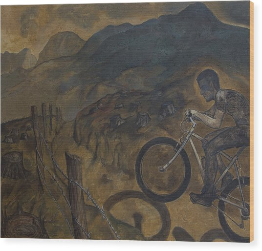 The Cyclist Wood Print by Fernando Alvarez