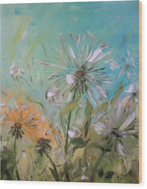 The Dandelions Wood Print by Solomoon Art Studio