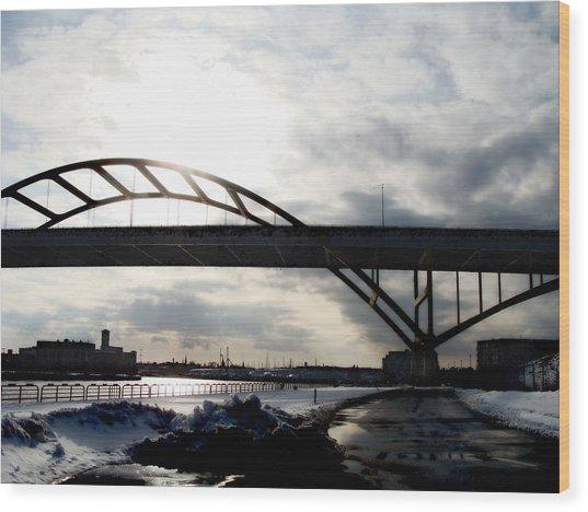 The Daniel Hoan Memorial Bridge Wood Print by David Blank