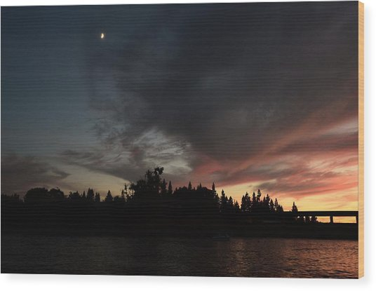 The Dark Side Of The Sunset Wood Print