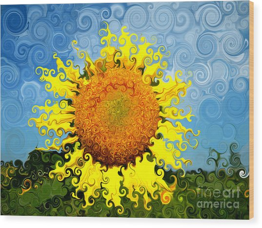 The Day Of The Sunflower Wood Print by Lorraine Heath