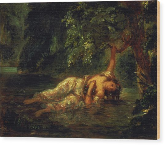 The Death Of Ophelia, 1844 Wood Print