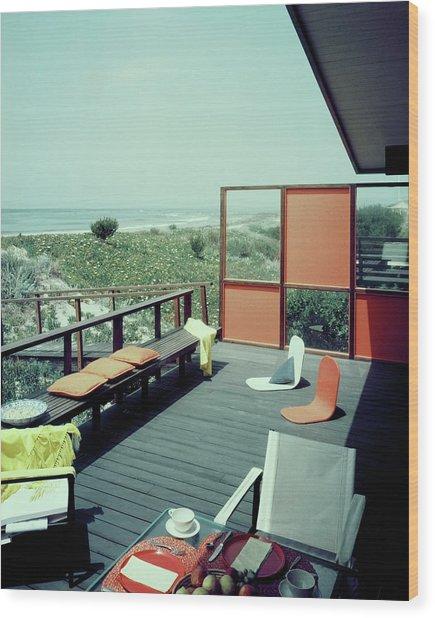 The Deck Of A Beach House Wood Print