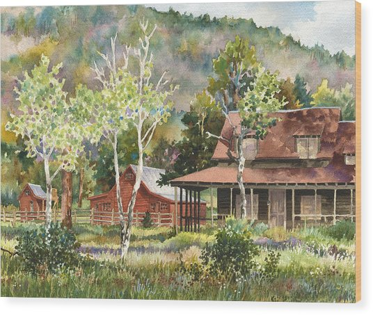 The Delonde Homestead At Caribou Ranch Wood Print