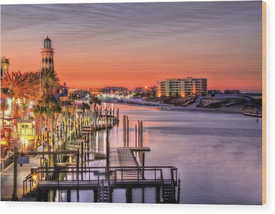 The Destin Harbor Walk Wood Print