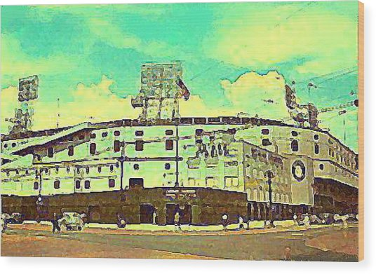 The Detroit Tigers Briggs Stadium In The 1950s Wood Print