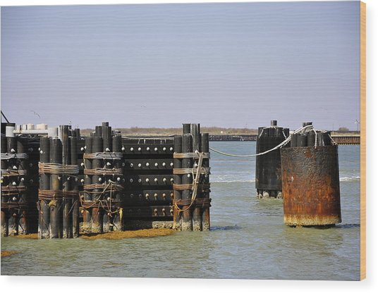 The Docks Wood Print by Cherie Haines