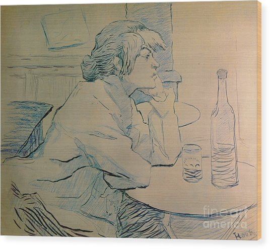 The Drinker Or An Hangover Wood Print