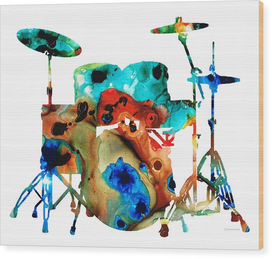 The Drums - Music Art By Sharon Cummings Wood Print