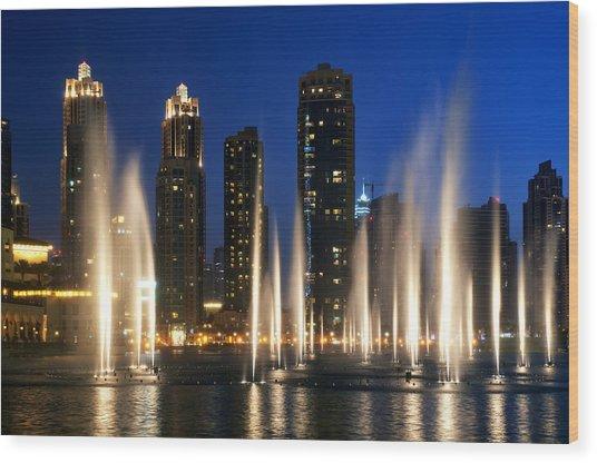 The Dubai Fountains Wood Print