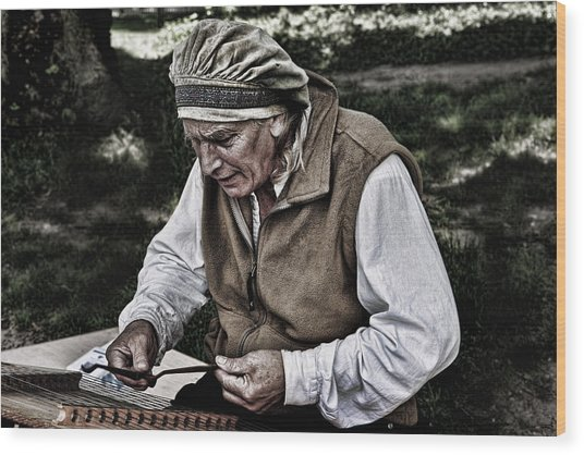 The Dulcimer Man Wood Print