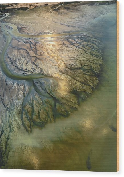The Earth Veins Wood Print by Faisal Alnomas