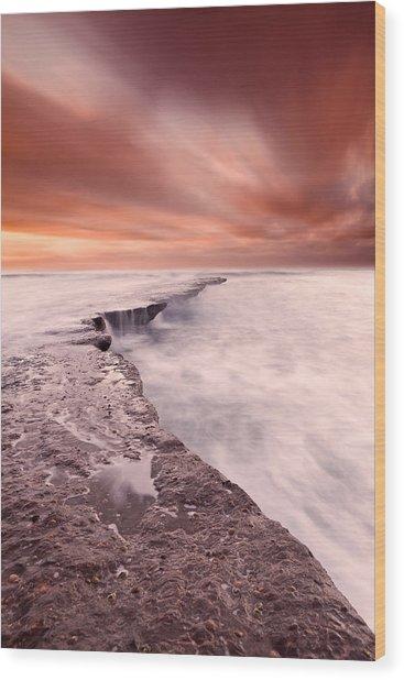 The Edge Of Earth Wood Print