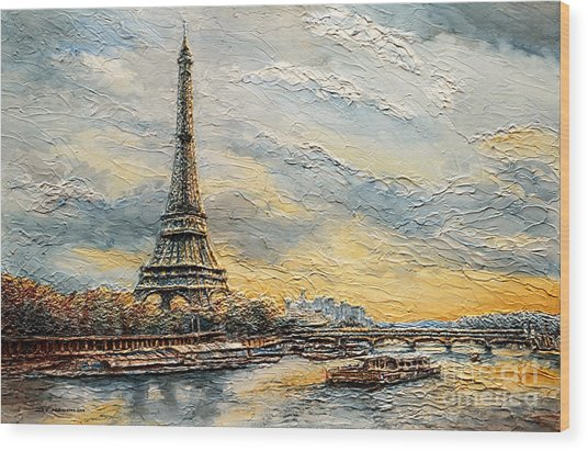 The Eiffel Tower- From The River Seine Wood Print