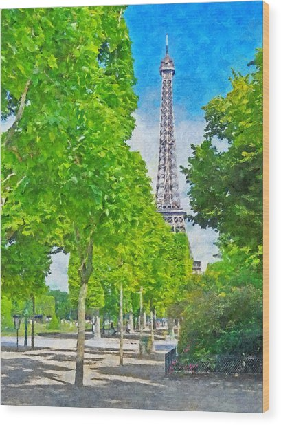 The Eiffel Tower In The Spring Of 2014 Wood Print