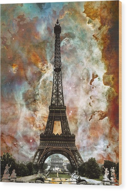 The Eiffel Tower - Paris France Art By Sharon Cummings Wood Print