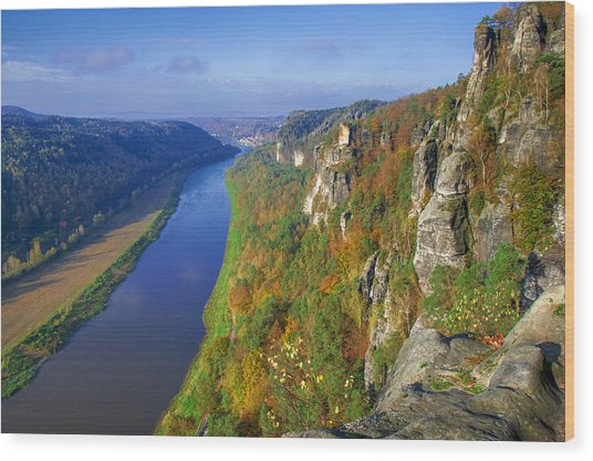 The Elbe Sandstone Mountains Along The Elbe River Wood Print