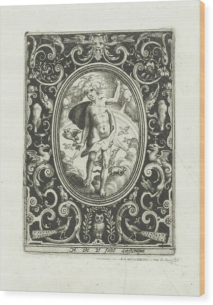 The Element Of Air As A Young Man Standing On Clouds Wood Print by Nicolaes De Bruyn