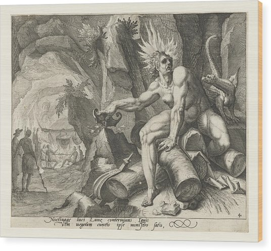 The Element Of Fire, Attributed To Jacob De Gheyn II Wood Print by Attributed To Jacob De Gheyn (ii)