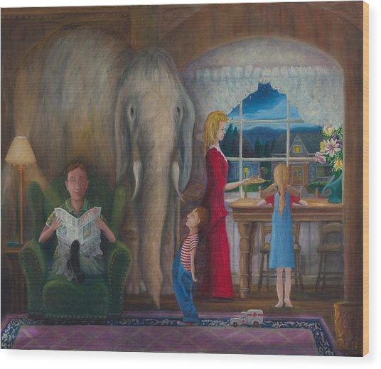 The Elephant Ambulance And Cookies Wood Print