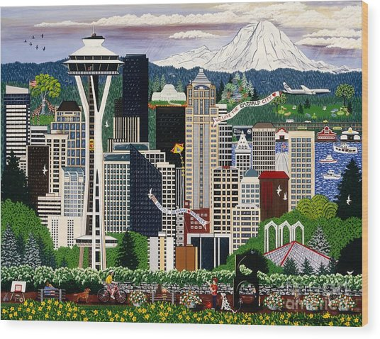 The Emerald City Seattle Wood Print
