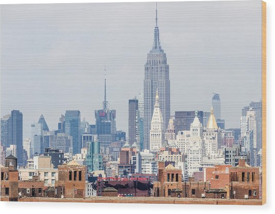 The Empire State Building From The Brooklyn Bridge Wood Print