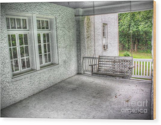 The Empty Porch Swing Wood Print