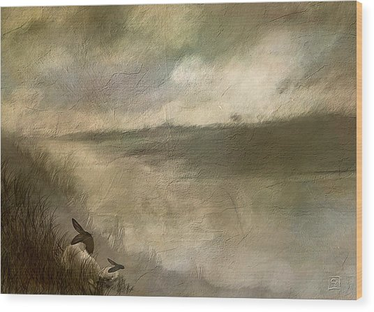 The End Of The Day Sheep Wood Print